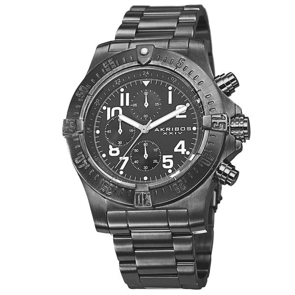 Akribos XXIV Men's Chronograph Quartz Stainless Steel Black Bracelet Watch