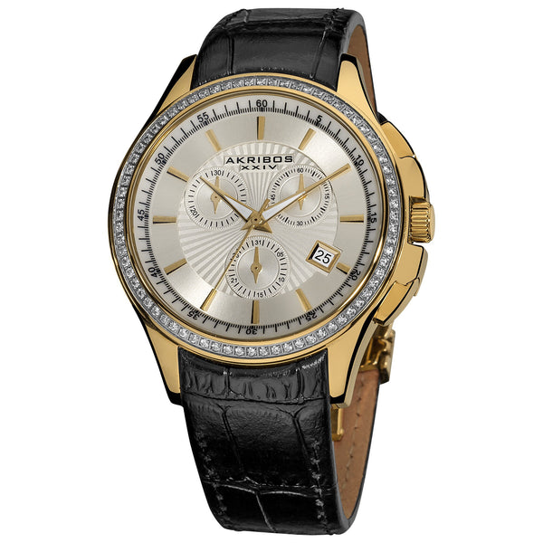 Akribos XXIV Women's Chronograph Crystal Accent Leather Gold-Tone Strap Watch
