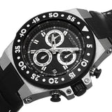 Akribos XXIV Women's Swiss Chronograph Sports Leather Black Strap Watch