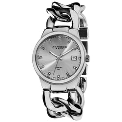 Akribos XXIV Women's Swiss Quartz Diamond Twist Chain Bracelet Silvertone Watch - black/silver