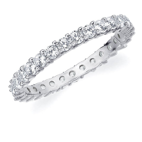 Amore 10K White Gold 1.0 CTTW Eternity Shared Prong Diamond Wedding Band