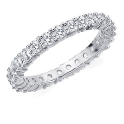 Amore 10K White Gold 1.50 CTTW Eternity Shared Prong Diamond Wedding Band