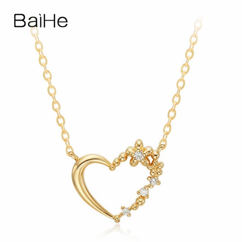 BAIHE Solid 18K Yellow Gold 0.02ct Certified 100% Genuine Natural Diamond