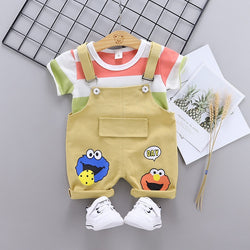 Baby Clothing Sets Summer Baby Boys Clothes Infant cotton boys Tops T-shirt+Suspender Outfits kids clothes Set