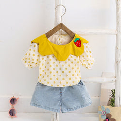 Baby Girls Clothing Sets Summer T-Shirt Strawberry Cute Children Girls Clothes Suit for Kids Outfit Denim Infant Girls Clo
