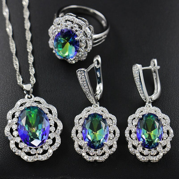 Luxury Flower 925 sterling silver Gemstones Topaz