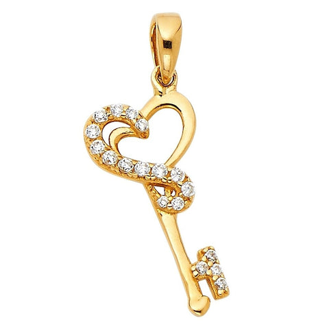 Curata 14k Gold Key Pendant Necklace 10x19mm Jewelry Gifts for Women