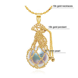 FENASY 18K Yellow Gold pendant  big pearl Jewelry