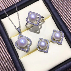 FENASY 925 Sterling Silver Natural Pearl  Crystal jewelry set