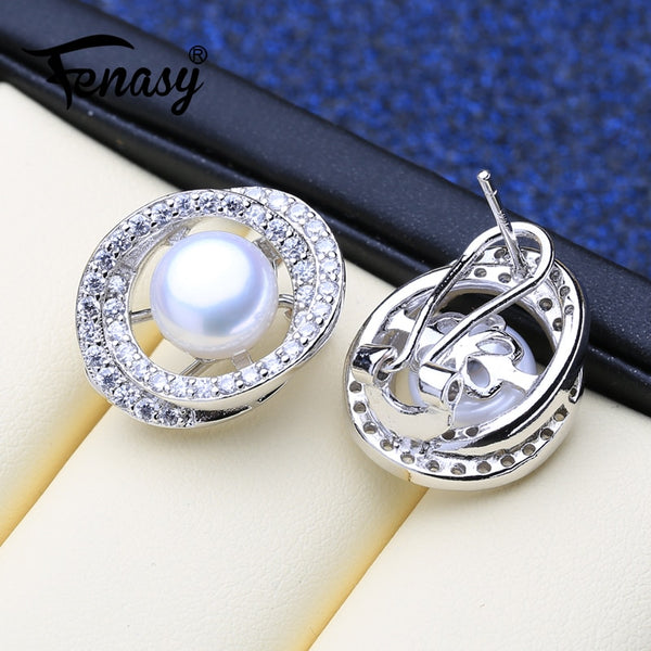 FENASY Pearl Jewelry Natural Freshwater Pearl Earrings 925 Sterling Silver Stud Earrings Big Size Geometric Wedding Earrings