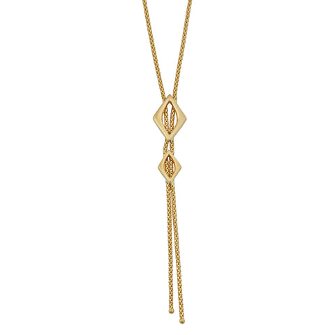 Fremada 18k Yellow Gold Italian Marquise Lariat Necklace (16.5 inches)