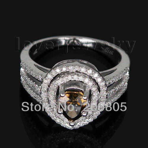 White Gold,Real Champagne Diamond Ring