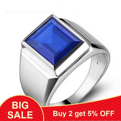 Handmade male ring 925 Sterling silver Big 8ct Blue AAAAA Zircon