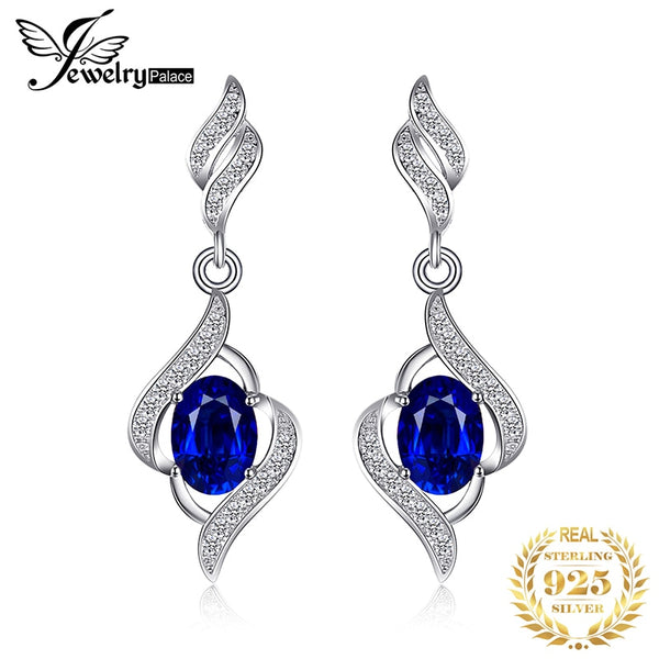 Blue Sapphire Drop Earrings 925 Sterling Silver