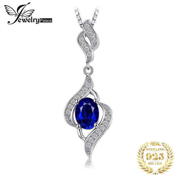 JewelryPalace  Sapphire Necklace 925 Sterling Silver