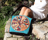 Turquoise big boho bag, Blue hobo shoulder bag, bolso de mano, borsetta
