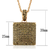 LO3472 Rose Gold Brass Chain Pendant with Top Grade Crystal in Smoked Quartz