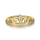 LOVERJEWELRYn Crown Diamonds Rings Real 18K Yellow Gold