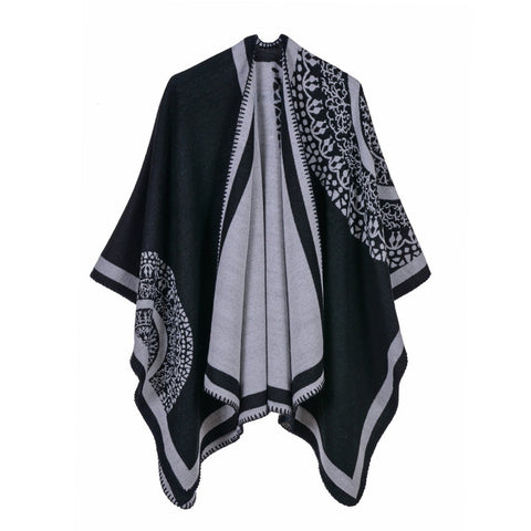 Luxury Brand Ponchos coat 2019 Cashmere Scarves Women Winter Warm Shawls and Wraps Pashmina Thick Capes blanket Femme Scarf