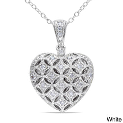 Miadora Silver 1/6ct TDW Diamond Heart Locket Necklace
