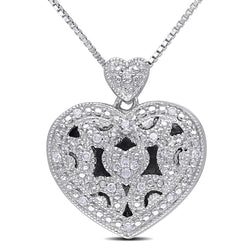 Miadora Sterling Silver 1/10ct TDW Diamond Heart Locket Necklace