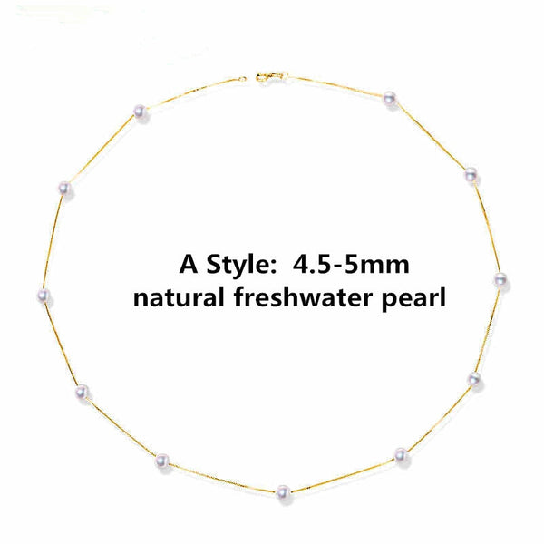 NYMPH 18K Gold Jewelry Natural Akoya Pearl Necklace Pendant With 18k Yellow Gold/Au750 Chain Trendy Wedding Gift For Love[x2001]