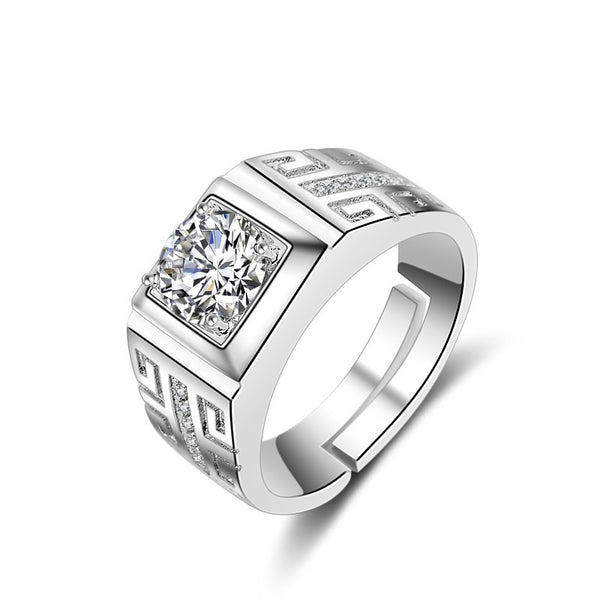 European Fashion Silver White Square AAA Zircon 925 Sterling Silver Ring