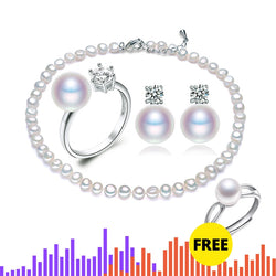 Cultured Pearl Necklace Ring and Earrings Sets