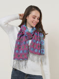 SF1155 Purple - Floral Pattern Scarf With Tassels Trims