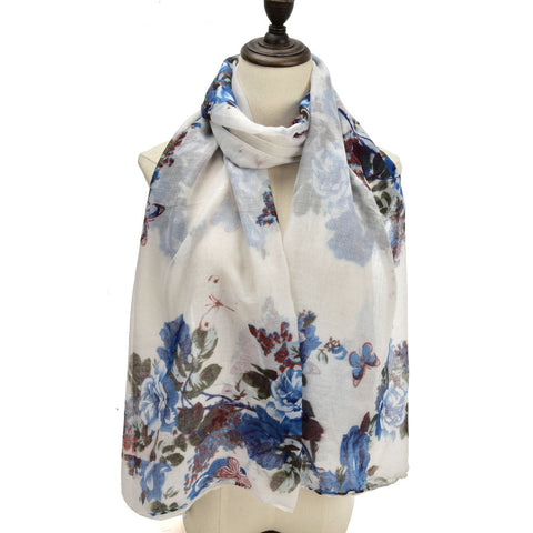 SF1201 WHITE - Small Butterfly Pattern Scarf For Women