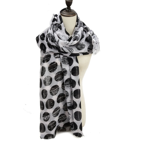 SF1207 BLACK - Sequins Large Dots Pattern Scarf For Women