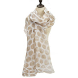 SF1207 KHAKI - Sequins Large Dots Pattern Scarf For Women