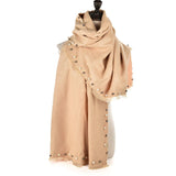 SF961 Camel - Cashmere Plain Pearls Supersoft Long Scarf