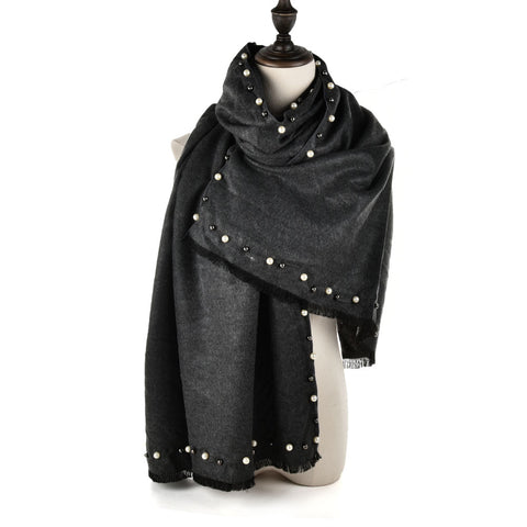 SF961 Dark Grey - Cashmere Plain Pearls Supersoft Long Scarf