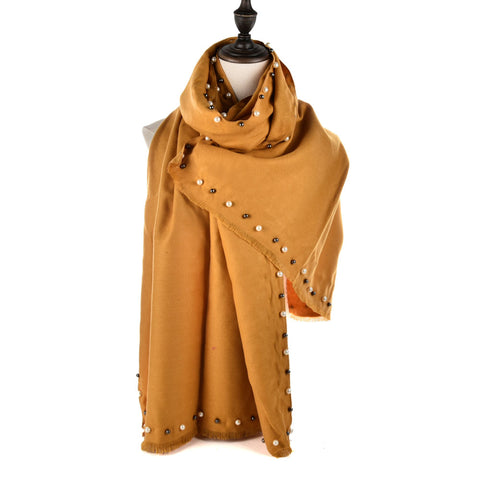 SF961 Yellow - Cashmere Plain Pearls Supersoft Long Scarf