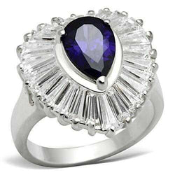 SS004 - 925 Sterling Silver Ring Silver Women AAA Grade CZ Tanzanite