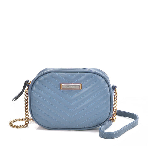 SY2172 BLUE - Chain Handbag With V-shaped Line Design