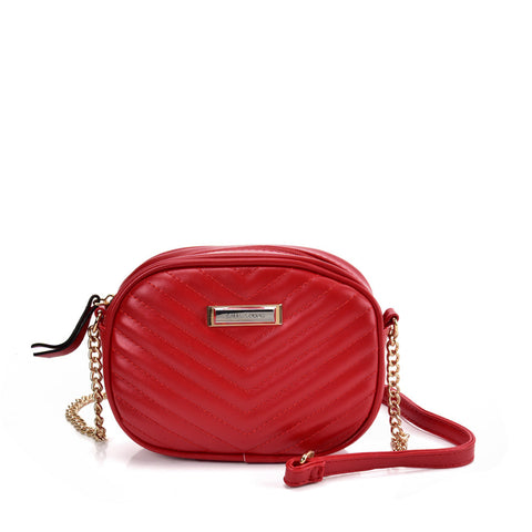 SY2172 PURPLISH RED - Chain Handbag With V-shaped Line Design