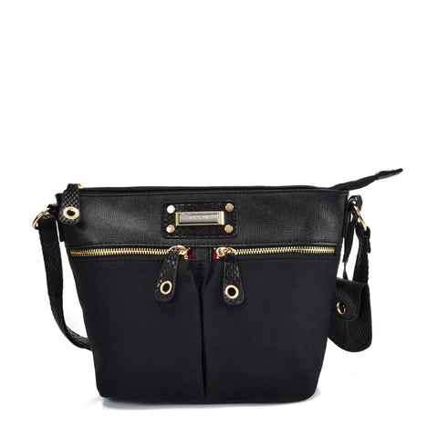SY2174 BLACK - Handbag With Symmetrical Zipper Design
