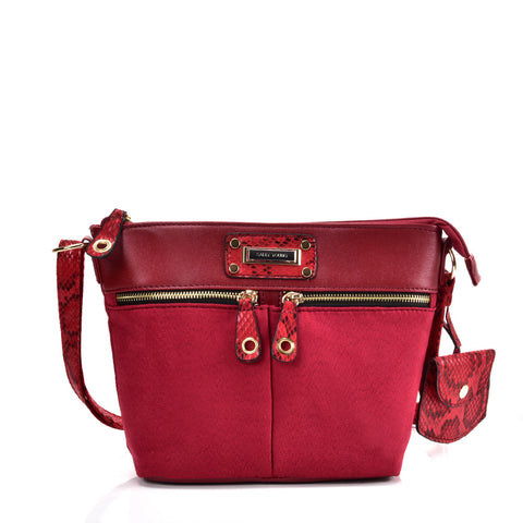 SY2174 RED - Handbag With Symmetrical Zipper Design
