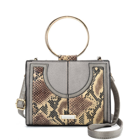 SY2175 APRICOT - Generous Snakeskin Bag With Ring Handle