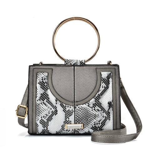 SY2175 SILVER - Generous Snakeskin Bag With Ring Handle