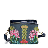 SY2176 BLUE - Handbag With Retro Flower Printing Design