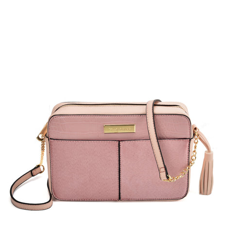 SY2177 PINK - Simple Chain Bag With Tassels Decoration