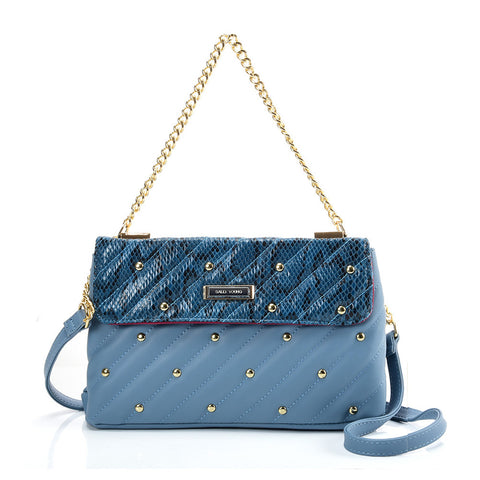 SY2178 Blue - Chain Handbag With Flap and Studs Design