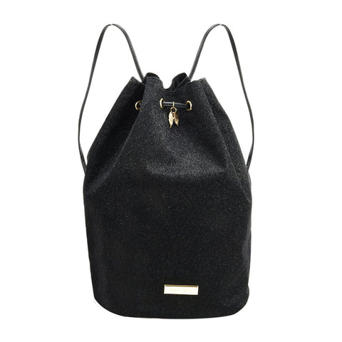 SY2181 BLACK - Bucket Bag With Rope Bundle Mouth