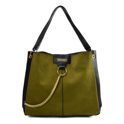 SY2208 GREEN - Handbag With Hardware Ring Chain Decoration