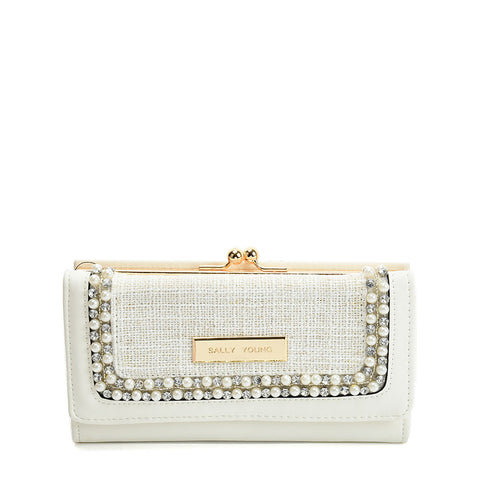 SY5057 WHITE - Luxury Wallet With Pearl Mosaic