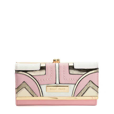 SY5060 PINK - Long Wallet With Colour Collision Splicing Design