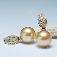 Sinya 18k Gold diamond stud earring Natural southsea pearls